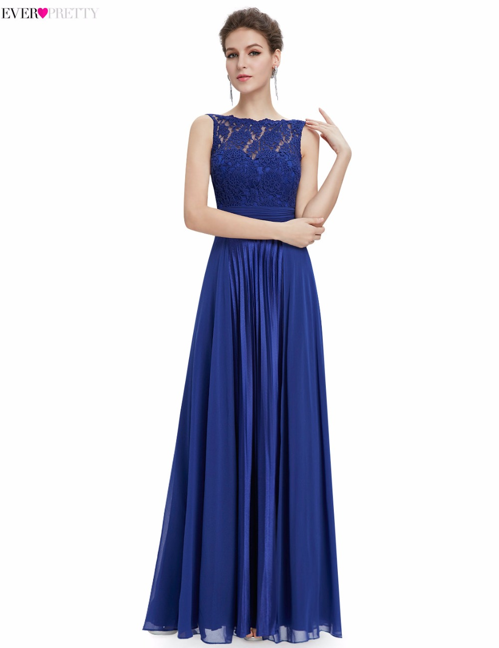 [Clearance Sale] Prom Dresses Ever Pretty EP08352 2018 Women Gorgeous Lace Long Round Neck Satin Backless Evening Party Dresses