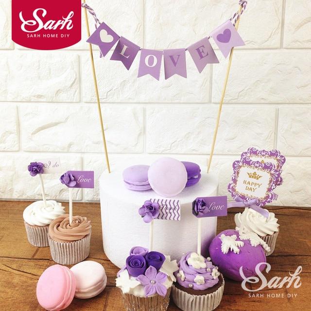Purple Forest Garden LOVE Beautiful Wedding Flower Birthday Cake