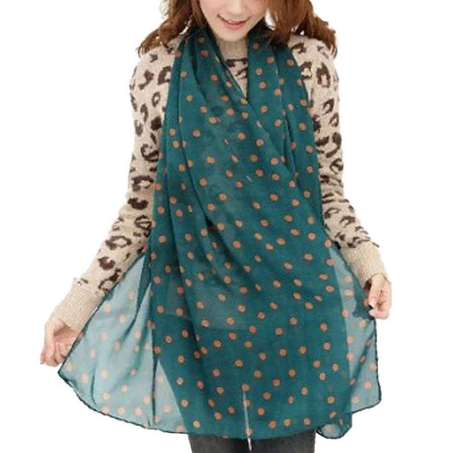 Gaya MUQGEW New Muda Gadis Panjang Lembut Silk Chiffon Scarf Wrap Polka Dot Populer Nyaman Selendang Scarve Untuk Wanita Tippet