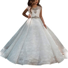 b6327e8703d Petites filles fête puffy enfants dresse robe petite fille première communion  robes avec train vestido de