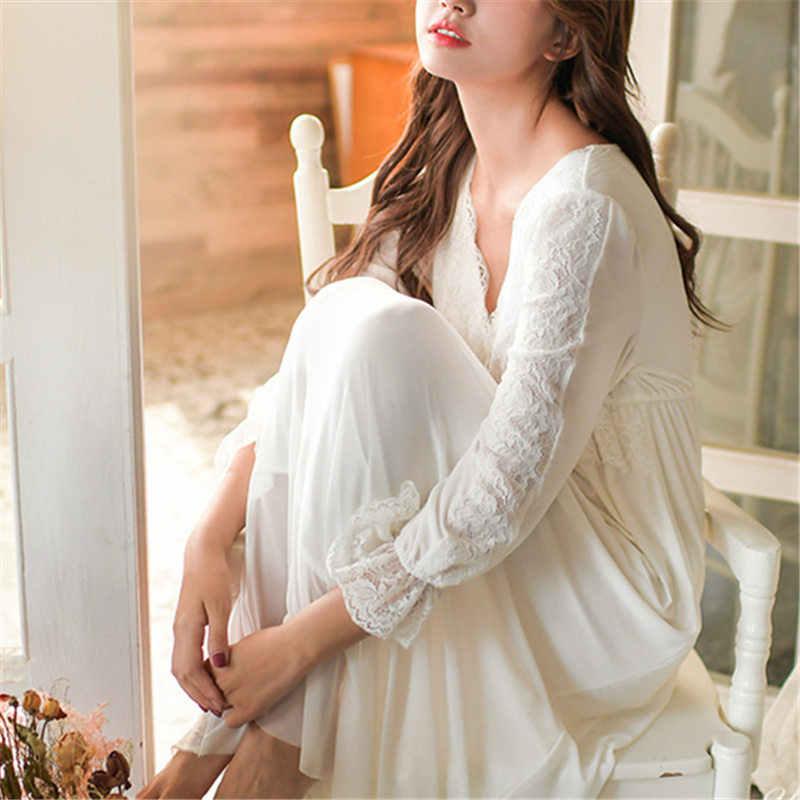 747eb157f28 ... 2019 Elegant Night Dress For Honeymoon Sexy V-Neck Long Sleeve Vintage  Nightgown Cotton Sleepwear ...