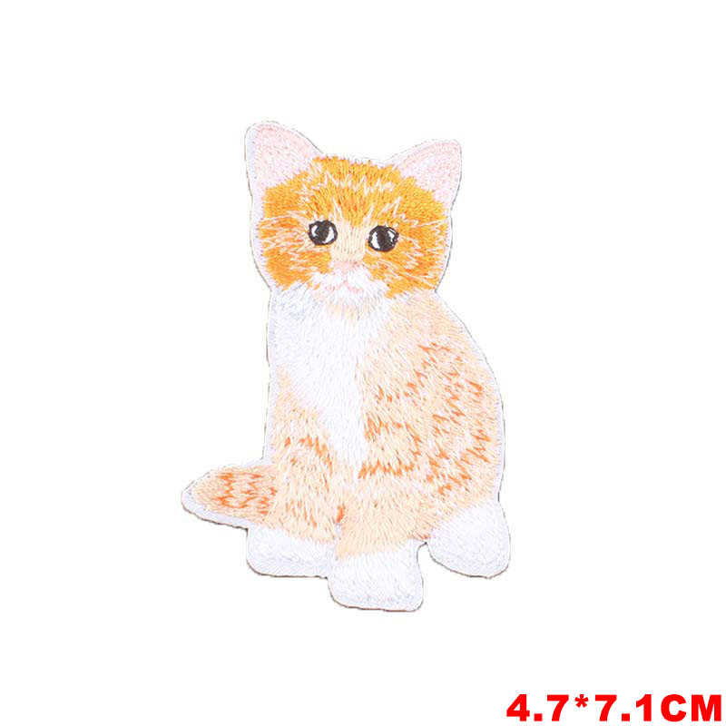 Cartoon Cat Iron on Patches for Clothing DIY Embroidery Stripe on Clothes Animals Sequin Applique Badge Applique Cloth Fabric