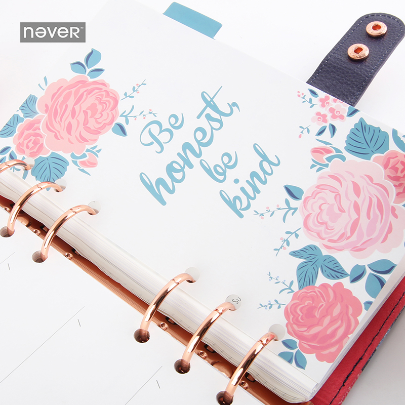 купить NEVER Rose Series Index Pages Dividers for Filofax Spiral Notebook A6 Planner Accessories Diary Retro Bookmark Stationery Store по цене 508.51 рублей
