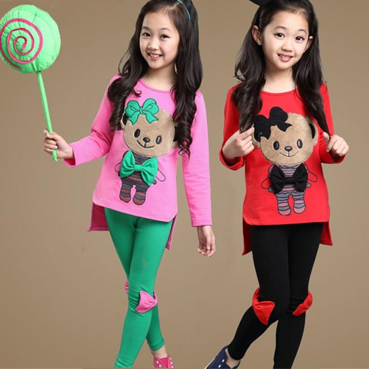Children Girls Clothing Sets Cute Bear T-Shirts For Girls Bow Leggings Cotton Kids Clothes Summer Spring Vestidos Teen & Pants