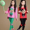 Crianças meninas roupas define urso T para meninas Leggings de algodão crianças roupas de verão Vestidos adolescentes calças