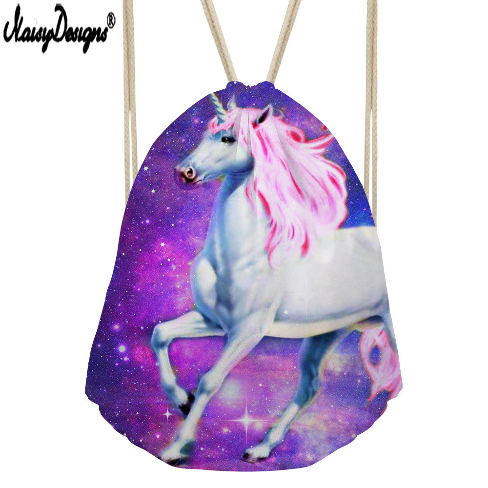 NoisyDesigns Small Drawstring Bag Women's Backpack For Cartoon Unicorn Printing Girls Cute Daypack Kids Satchel Softback Mochila