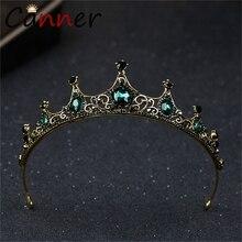 CANNER barroco vintage diadema de diamantes de imitación verde corona de oro Tiaras y coronas de cabello de princesa/novia diadema de corona FI