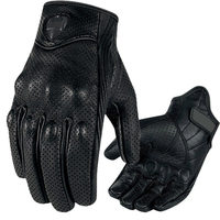 1 Pair Black Motorcycle Gloves Leather Windproof Warm Gloves Racing Protection Equipment Men S Gloves Gears