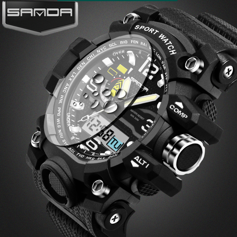 SANDA mens watches Dual Display LED Digital Watch Men ...