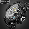 SANDA mens watches Dual Display LED Digital Watch Men Waterproof Clock Men Army Military Sport Watches Mens Relogio Masculino