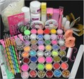 Hot Hot Pro Acrylic Liquid Nail Art Brush Glue Glitter Powder Buffer Tool Set Kit Manicure DIY