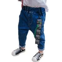 Letter Pendant Flag Boys Jeans Pants Spring Autumn Fashion Long Kid Jeans Trousers Boy Denim Pants Casual Jeans for 2~10 years