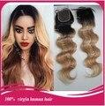 7А качество 1b/27 # девственница перуанский волосы объемной волны ломбер блондинка два тона закрытия шнурка бесплатная доставка