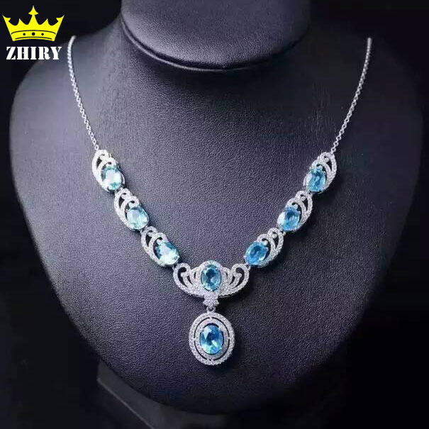 Natural Blue Topaz Necklace Genuine Solid 925 Sterling Silver Women Gemstone jewelry prom umcho 3 4ct genuine natural swiss blue topaz gemstone pendants necklaces for women pure 925 sterling silver necklace jewelry