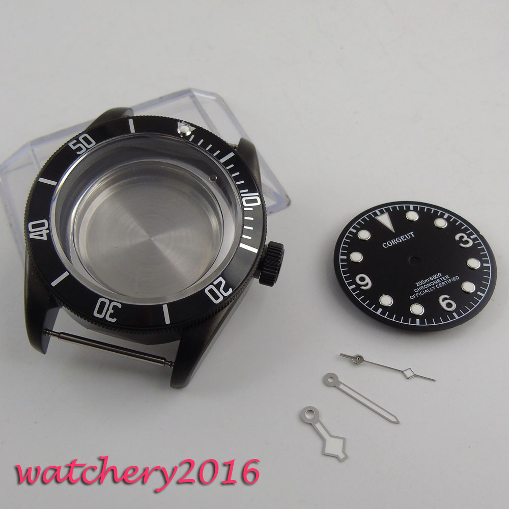 41mm corgeut High quality hardened Black PVD Watch Case+Dial+Hands Luminous Marks a Set for ETA 2824 2836 MIYOTA 8215 Movement 41mm pvd black steel case dial hands luminous set for eta 2824 2836 miyota 8215 movement