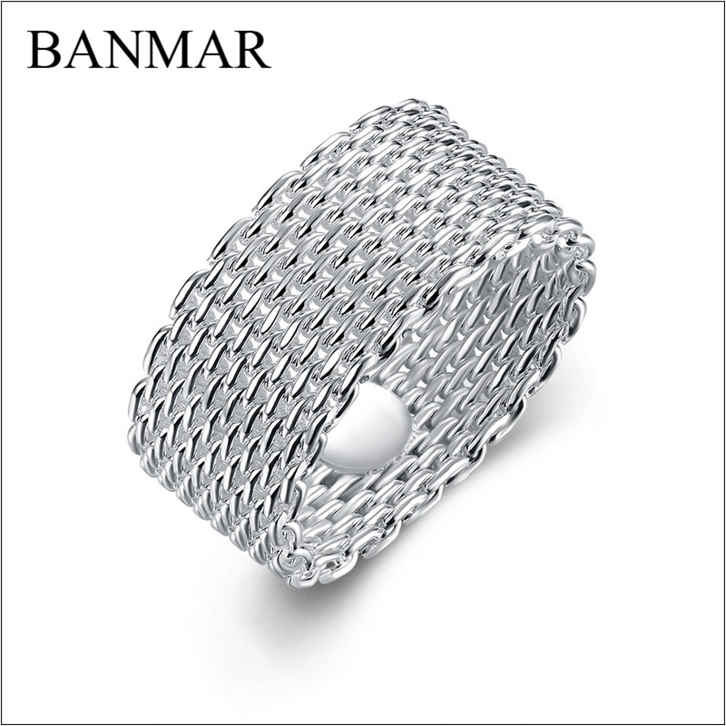 BANMAR Jewelry Silver Plated Ring Fine Fashion Net Ring Women & Men Gift Silver Jewelry Finger Rings Female Rings Wholesale