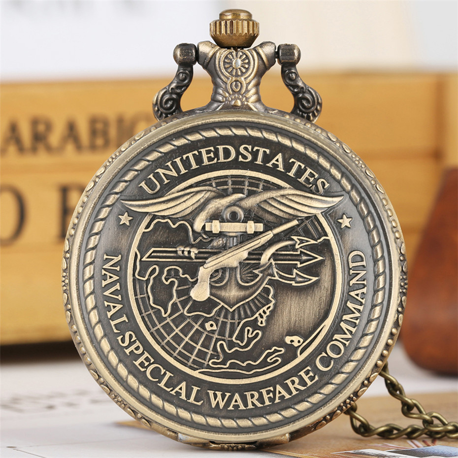 US Navy Special Operations Command Display Quartz Pocket Watch Bronze Pendant Clock Necklace Watch For Men Women Vintage Watch