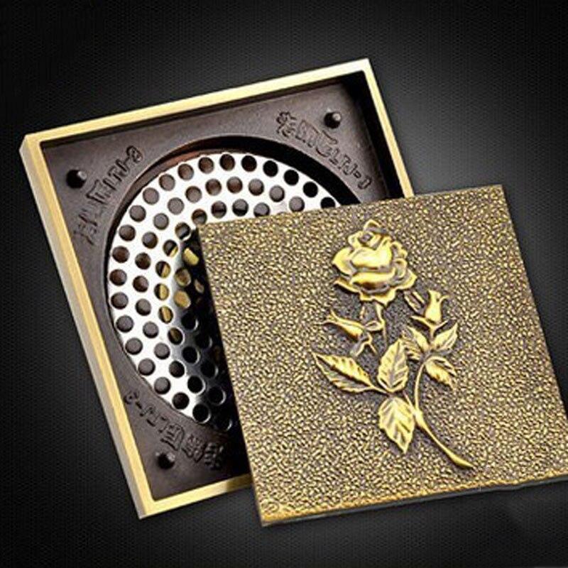 Cubierta de drenaje de piso de cobre completo a prueba de olores de acero inoxidable de Arte de tiro de drenaje de suelo auténtico europeo GD10182 - 3