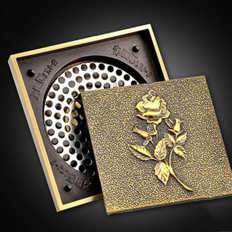 Drain de sol en cuivre entier couvercle de drain de sol anti odeur en acier inoxydable art archaize drain de sol authentique européen GD10182 - 3