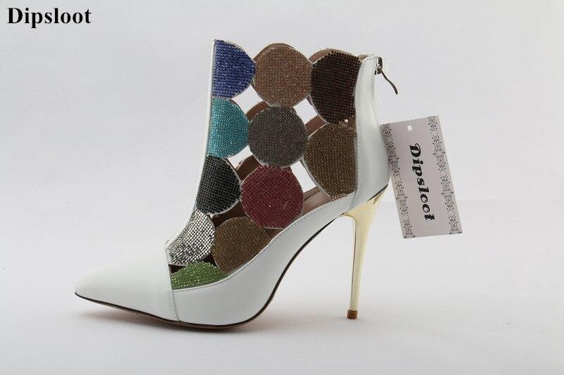 2018 Dipsloot Strass Embelli Femme Cheville Bottes Cut-out Femmes D'été Gladiateur Sandales Bottes Femme Bout Pointu Chaussures