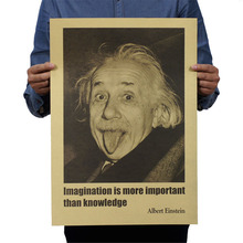 Albert Einstein Poster Imagination Is More Important Than Knowledge Wall Sticker Wallpaper Home Bedroom Library Decoration