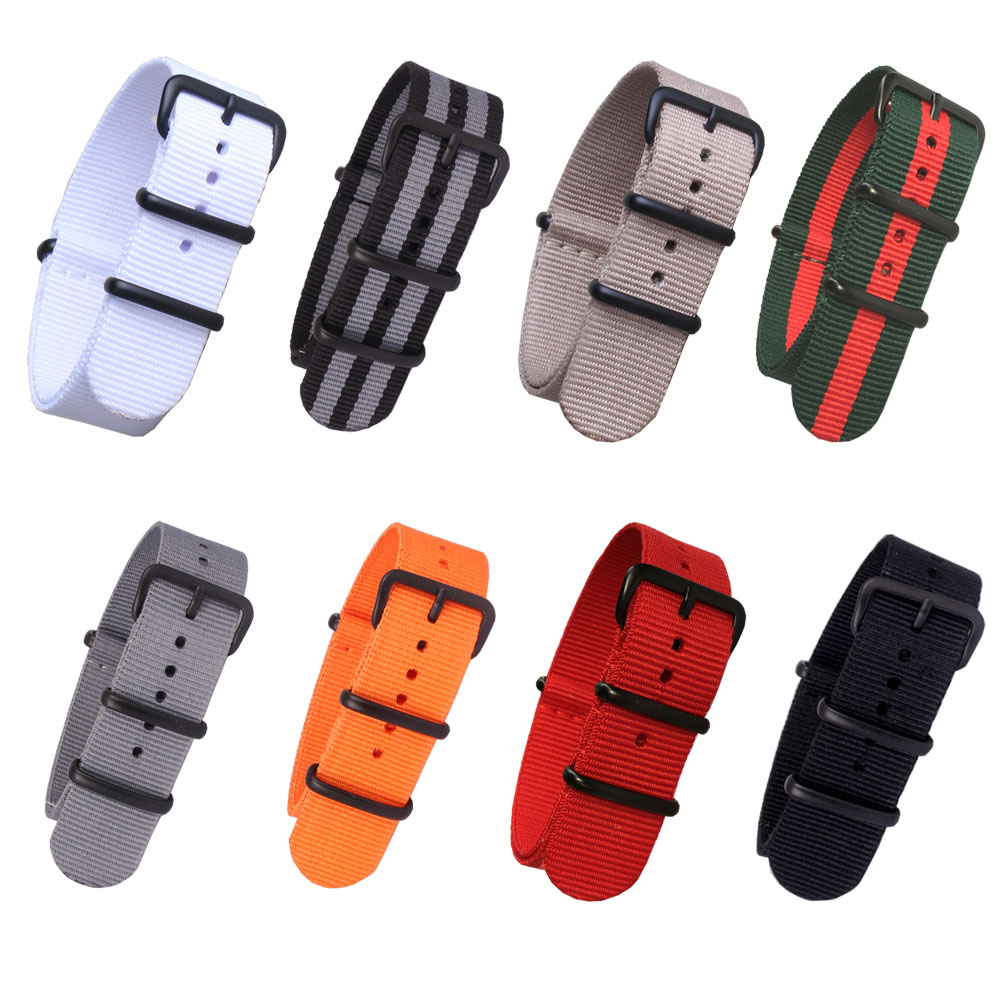 Buy 2 Get 20% OFF)  Nato Solid Black Buckle Stripe Orange Wholesale 20mm 22mm 24mm Watchbands Watches Strap Band Buckle Belts