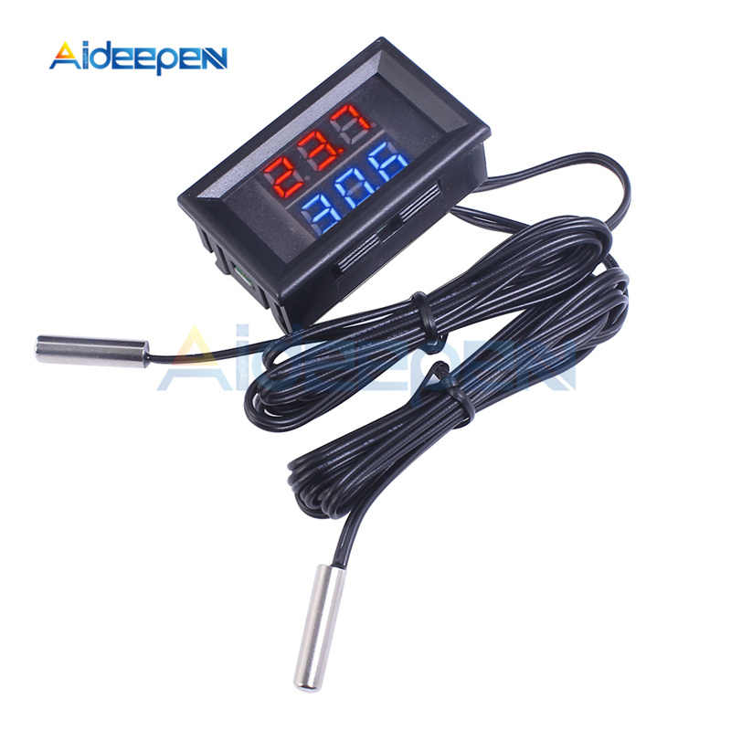 Mini DC 4 V-28 V 0.28 Inci LED Dual Display Digital Thermometer W/NTC Tahan Air Logam Probe sensor Suhu Tester untuk Indoor