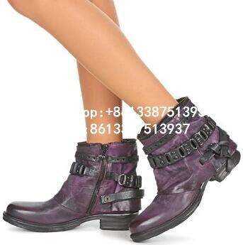 Zip Otoño Tamaño leather 41 fur Hebillas Mujer Inside Negro Mujeres Inside Botas Inside Real Zapatos Fur Casual Botines púrpura Nuevo Vintage De Pisos Cuero Ladies 88prTxw