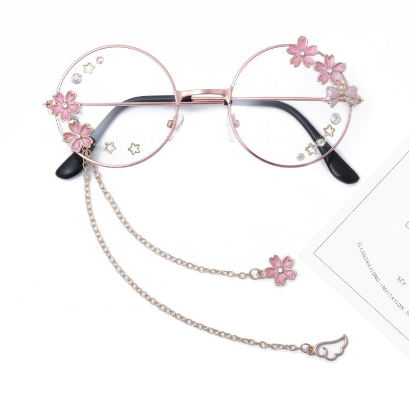 Cute Sakura Wing Pendant Clear Optical Glasses Frame Women Round Girls Retro Gothic Handmade Eyewear Bowknot Glass Oculos Gafas