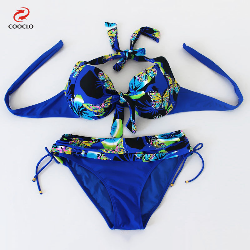c936240d9dc5a Cooclo Big Size Bikinis Set Russia Style Women Swimsuits Butterfly Print  Push Up Plus Size Sexy