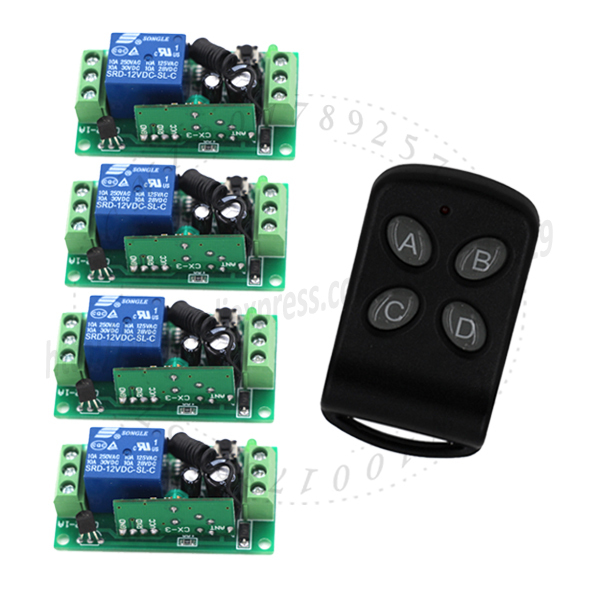 Fixed code 150m distance DC 12V 4CH RF wireless switch remote control System,315/433 MHZ 1 Transmitter And 4 Receiver SKU: 5104