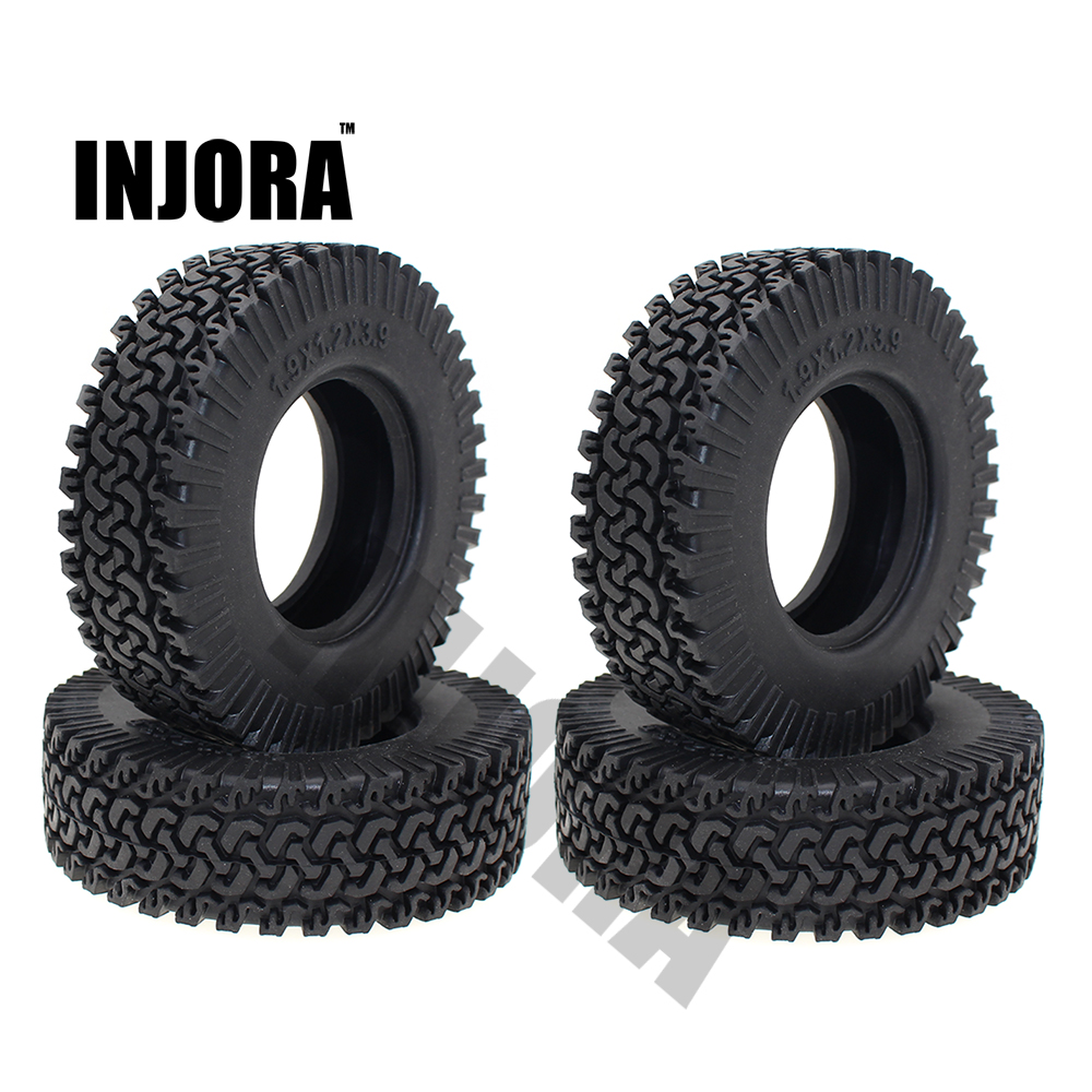 INJORA 4PCS 98MM 1.9 Rubber Wheel Tires for 1:10 RC Rock Crawler Axial SCX10 RC4WD D90 D110 Tamiya CC01 1.9 Inch Tyres