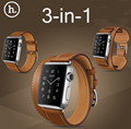 Original Hoco 3 In 1 Package Double Tour Singe Tour Cuff Leather Band For Apple Watch 38mm 42mm Made By First Layer Calf Leather