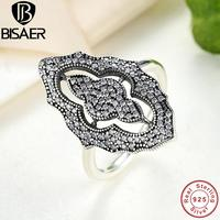 BISAER 2016 New Clear CZ 925 Sterling Silver Rings For Women Fashion Jewelry Ring Female Wedding