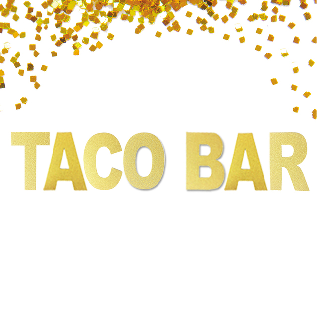 Glitter taco bar banner taco fiesta salsa mexican theme party sign banner bunting decorations gold