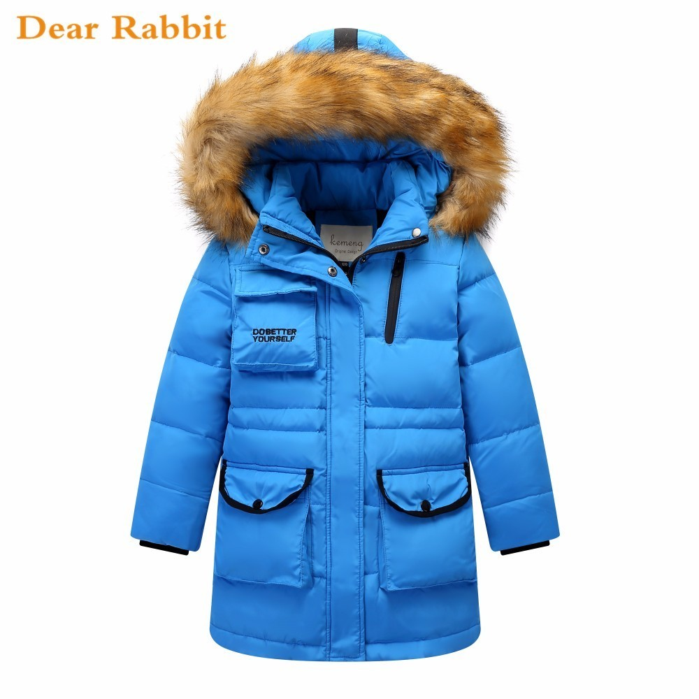 fdf861338 2018 New Children Winter Warm Duck Down Jacket for girl clothes Thicken  Boys long Big parka real Fur Hooded Kids Outerwear Coats