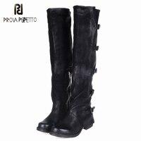 Prova Perfetto овчины сделать старый ретро Сапоги и ботинки для девочек зимние сапоги до колена Ботфорты из натуральной кожи Euramerican Стиль женские
