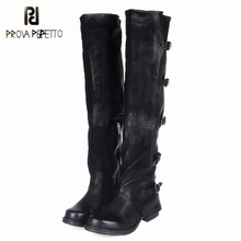 Prova Perfetto Sheepskin Do the Old Retro Boots Winter Knee High Genuine Leather Long Boots Euramerican Style Woman Knight Boots