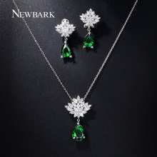 NEWBARK Wedding Jewelry Sets For Brides Teardrop Stud Earrings Necklace Set Snowflake Flower Pear CZ Diamond White Gold Plated