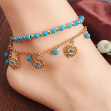 2Pcs/Set Bohemian Fashion Gold Color Foot Chain Beaded Hollow Out Flower Rhinestone Bracelet Anklets For Women Jewelry