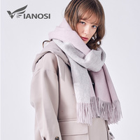 VIANOSI 100% Wool Scarf Women Winter Shawl Thick Warm Scarves Women Cape Brand Foulard Luxury Cachecol Scarfs for Ladies VA226