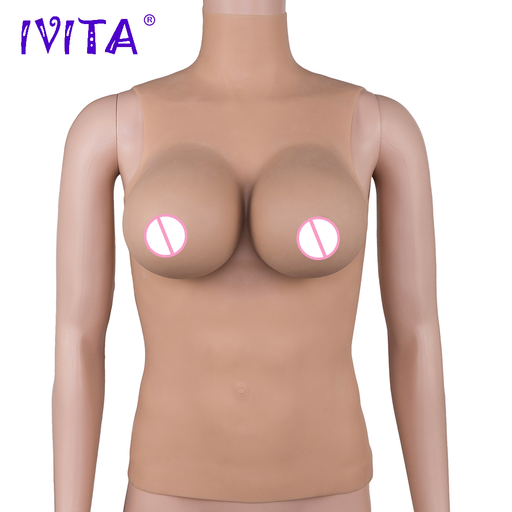 все цены на IVITA 3800g Realistic Silicone Breast Forms For Crossdressers Shemale Transgender Closed Neck Full Bodysuit Drag Queen travesti онлайн