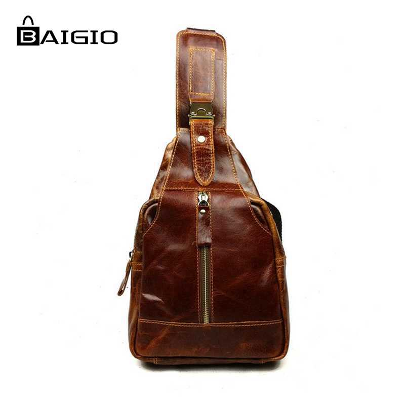 ФОТО Baigio Genuine Leather Men Bags Fashion Casual High Quality Men Chest Packs Shoulder Bags Messenger Bag Handbag Travel Small Bag