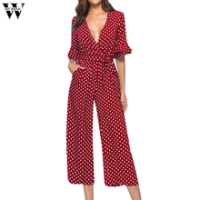 Womail white jumpsuit elegant for women 2018 autumn Polka print printed trousers enteritos jumpsuits largos de