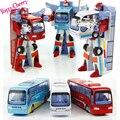 Nuevo estilo poli robotcar robot transformación bus car toys aleación deformación robot policía autobús toys for kids niños