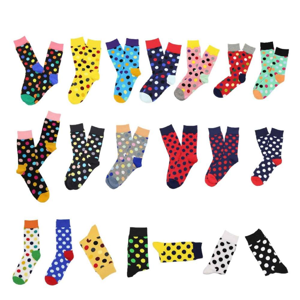 WH SOKKEN Happy   socks   summer autumn couple's combed cotton stocks colourful dot pattern breathable wedding suit travel party