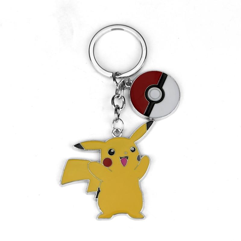 Perhiasan Filem Pokemon Keychain Cute Pikachu Key Finder Enamel berwarna-warni Pemegang Cincin Keychain berwarna-warni untuk Wanita Lelaki dan Kanak-kanak