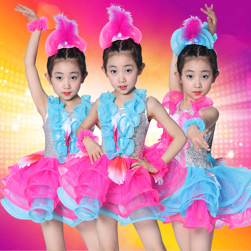 20pcs/lot Free Shipping Blue Rose Pink Latin Dress Sequin Kids Girls Ballroom Stage Host Clothes Dancing Costumes