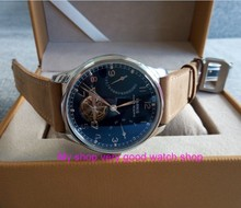 43mm PARNIS Blue dial power reserve Automatic Self-Wind Mechanical movement men's watch Leather Starps zdgd31a