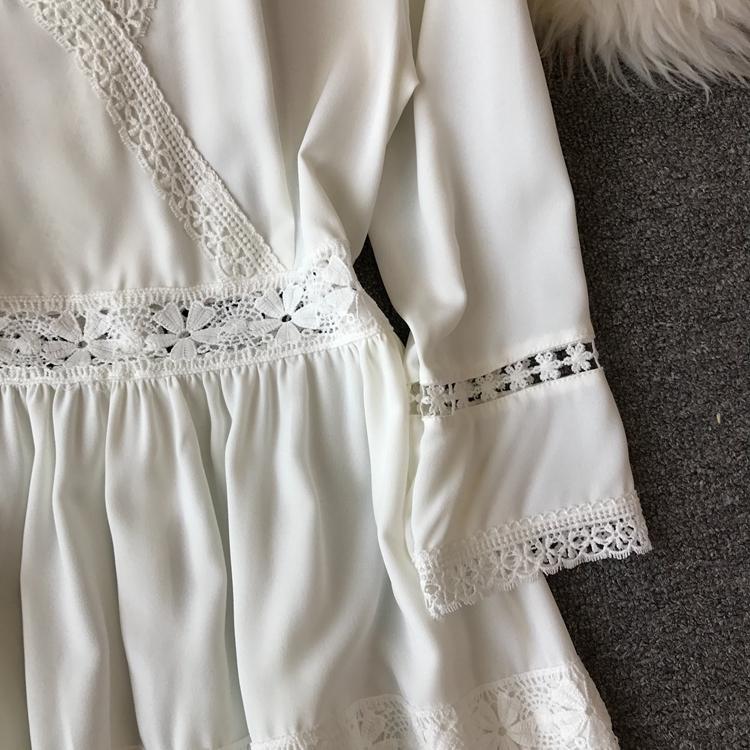Women Bohemian Dress Lady Half Sleeve V Neck Red and White Beach Holiday Elegant Vestidos E152 24